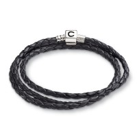 Pulsera CHAMILIA EBONY BRAIDED LEATHER WRAP BRACELET