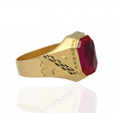 Sello rectangular oro 18K piedra roja
