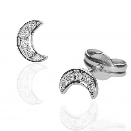 Pendientes ¨Mini Moon¨Oro y diamantes